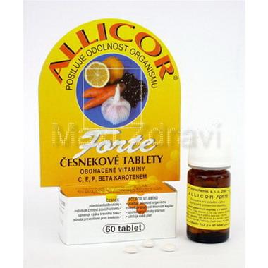Allicor Forte česnek 60 tablet + C + E + P + BETA